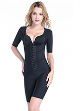 Black Short Sleeve Postpartum  Tourmaline Tummy Body Shaper S-4XL MH1499