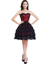 Red Lace Steel Bone Corset Dress With Zipper S-2XL MH1464