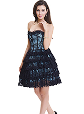 Blue Lace Steel Bone Corset Dress With Zipper S-2XL MH1465