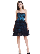 Dark Blue Lace Steel Bone Corset Dress With Zipper S-2XL MH1467
