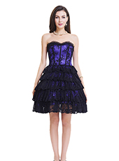 Purple Lace Steel Bone Corset Dress With Zipper S-2XL MH1468