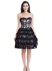 Grey Lace Steel Bone Corset Dress With Zipper S-2XL MH1469