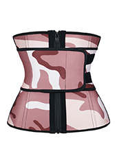 Pink Camouflage Latex Waist Trainer With Zipper XS-3XL MH1692