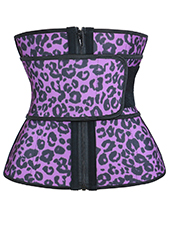 Purple Leopard Print Latex Belt Waist Trainer MH1691