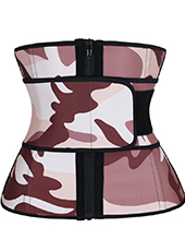 Pink Camouflage Latex Waist Trainer With Zipper3 XS-6XL MH1692