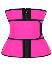 Pink Straps Zipper Latex Waist Trainer 3XS-6XL MH1774