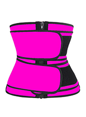 Pink Double Belts And Zipper Corset 3XS-6XL MH1791