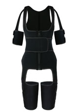 Black Single Belt Thigh Shaper Vest With Arms Shaper MHW100050B