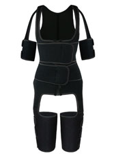 Black Double StrapsThigh Shaper Vest With Arms Shaper MHW100051B