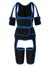Blue Double Straps Thigh Shaper Vest With Arms Shaper MHW10005BL