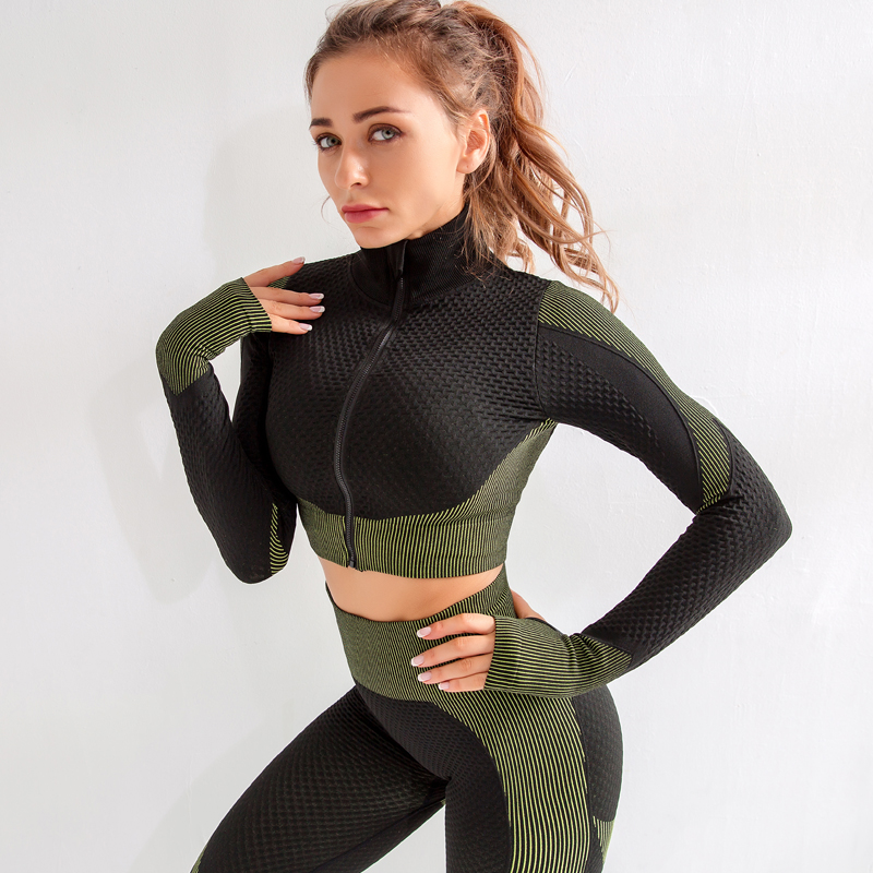 Long Sleeve Zipper Yoga Workout Fitness Sets MH133558