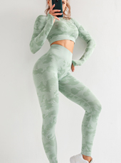 Long Sleeve Camouflage Yoga Workout Fitness Sets MH133559