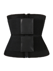 Black Latex Waist Trainer with Double Elastic Bands MHW100095B