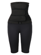 Black three belt neoprene waist trainer with pants MHW100134B